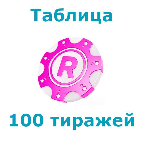 Рапидо: Таблица 100 тиражей лотереи